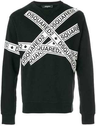 DSQUARED2 logo tape print sweatshirt