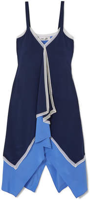 Diane von Furstenberg Wren Asymmetric Chiffon-trimmed Silk-crepe Midi Dress - Blue