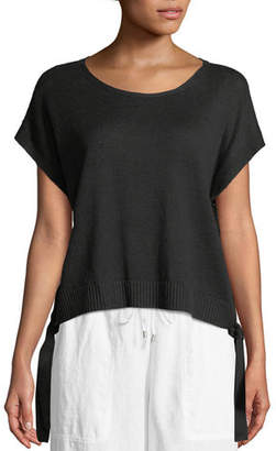 Eileen Fisher Organic Linen Side-Tie Short Poncho Top