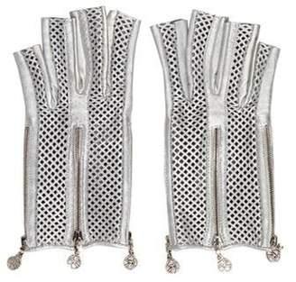 Chanel Metallic Fingerless Gloves Silver Metallic Fingerless Gloves