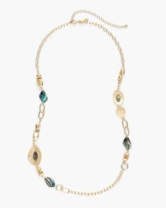 Gold-Tone Single-Strand Stone Necklace