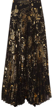 Alice + Olivia Alice Olivia - Shannon Pleated Metallic Printed Chiffon Maxi Skirt - Gold