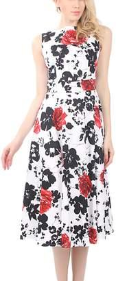 Lettre d'amour Women's 1950s Vintage Sleeveless Printed Swing Dress XXL