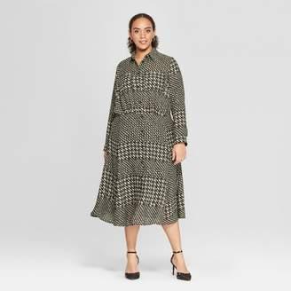 Who What Wear Women's Plus Size Striped Convertible Sleeve Midi Shirtdress