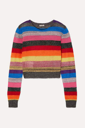 Miu Miu Cropped Metallic Striped Knitted Sweater - Red