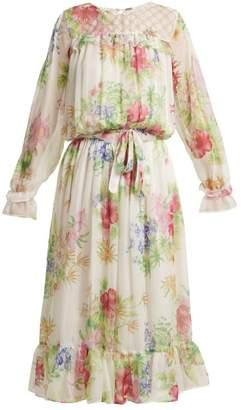 Dodo Bar Or - Vitti Floral Print Embellished Dress - Womens - White Multi
