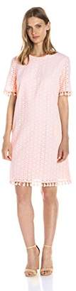 Lark & Ro Women's Short Sleeve Eyelet Tassel Shift Dress