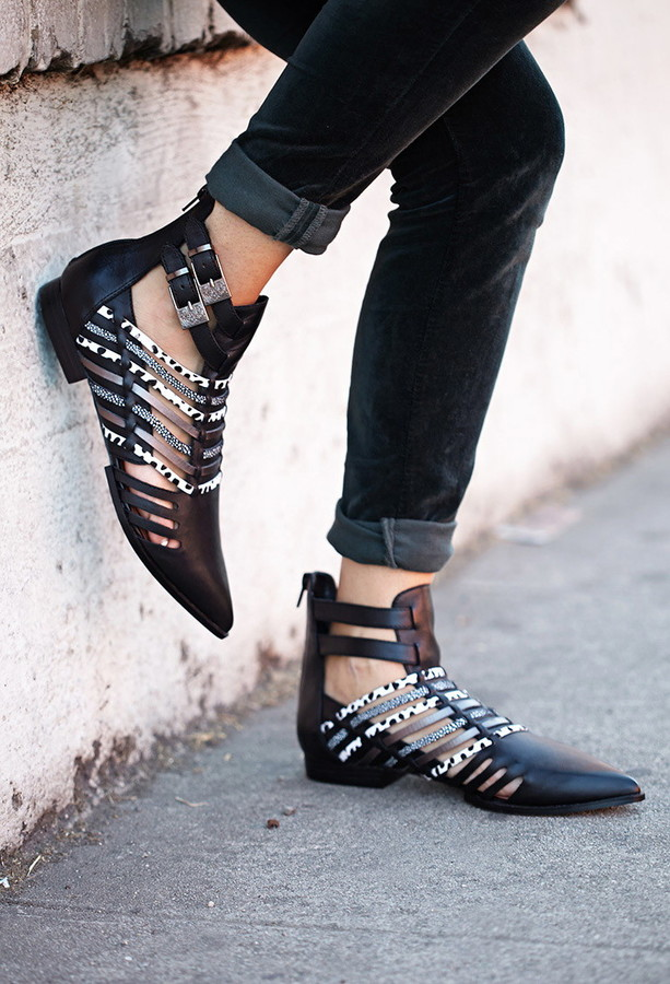 Forever 21 jungle frenzy cutout booties
