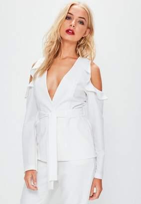 Missguided White Cold Shoulder Tie Waist Blazer