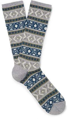 Anonymous Ism Fair Isle Cotton-Blend Socks