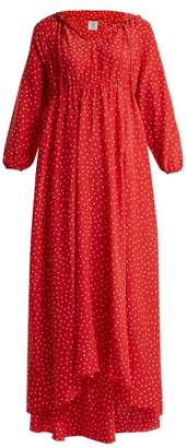Vetements Polka Dot And Emjoi Print Hooded Silk Dress - Womens - Red Print