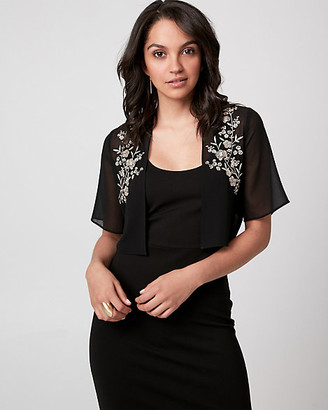 Le Château Embroidered Chiffon Open-Front Shrug