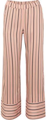 Hanro Malie Striped Satin-piqué Pajama Pants - Blush