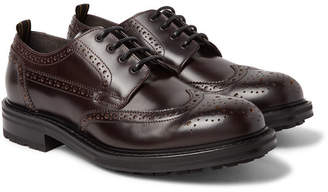 Dunhill Traction Leather Wingtip Brogues - Men - Merlot