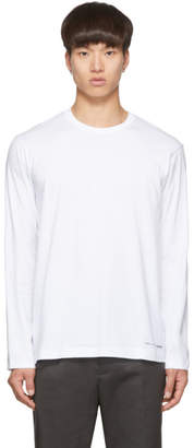 Comme des Garcons White Logo Hem Long Sleeve T-Shirt