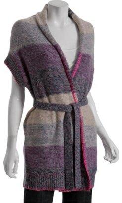 Rebecca Taylor purple stripe knit tie-front cardigan