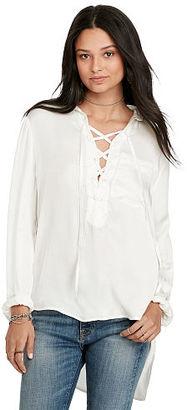 Ralph Lauren Denim & Supply Satin Lace-Up Top $125 thestylecure.com