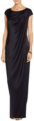St. John Liquid Satin Bateau Neck Gown