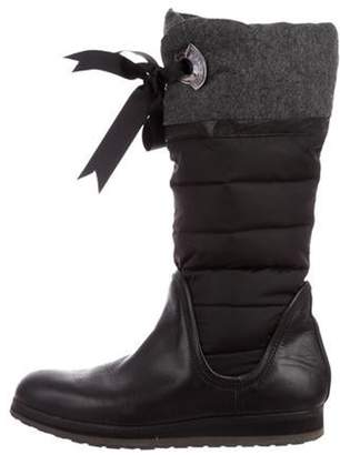 Moncler Leather Puffer Mid-Calf Boots Black Leather Puffer Mid-Calf Boots