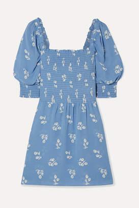 Reformation Elle Shirred Floral-print Georgette Mini Dress - Blue