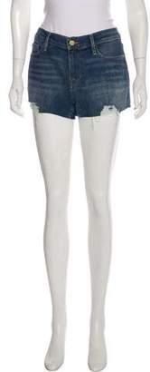Frame Distressed Mid-Rise Denim Mini Shorts