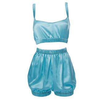 """Roses Are Red - """"Sundays Are For Ever"""" Silk Sleepwear Set Blue"""