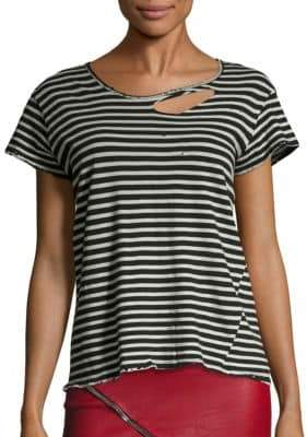 RtA Nicola Striped Distressed Cotton Tee