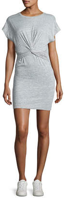 IRO Pier Stretch Jersey Twist-Front Mini Dress, Light Gray