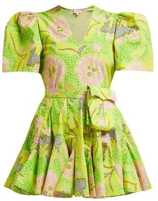 Rhode Resort Vivienne Puff Sleeve Cotton Blend Mini Dress - Womens - Green Print