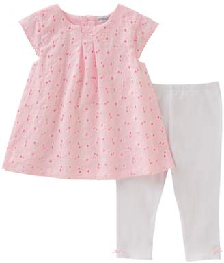 Absorba Embroidered Tunic & Scallop Leggings - Pink, Size 0-3m