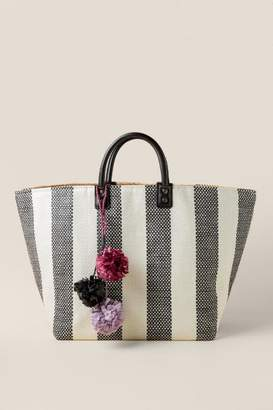 francesca's Riley Striped Tote - Black/White