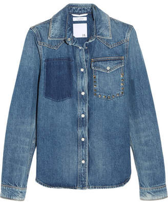 Valentino The Rockstud Distressed Denim Shirt - Mid denim