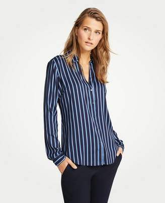 Ann Taylor Striped Essential Button Down Blouse