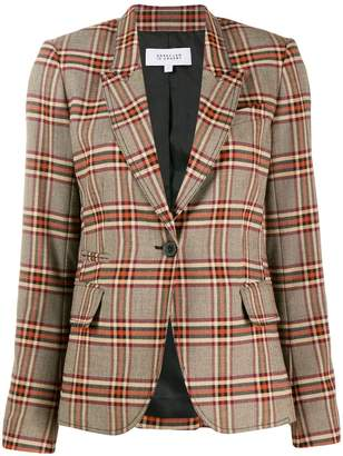 Derek Lam 10 Crosby 3-Button Plaid Twill Blazer with Zipper