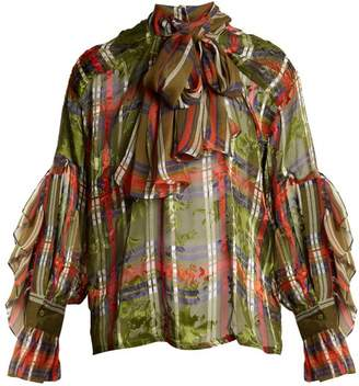 Preen By Thornton Bregazzi - Marina Checked Silk Blend Devoré Shirt - Womens - Khaki Multi