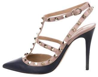 Valentino Leather Pointed-Toe Pumps