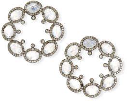 Siena Jewelry Moonstone & Diamond Forward-Facing Hoop Earrings