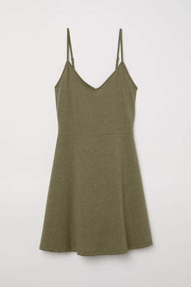 H&M Short Jersey Dress - Green melange - Women