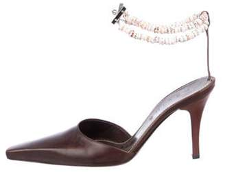 Celine Leather Ankle Strap Pumps silver Leather Ankle Strap Pumps