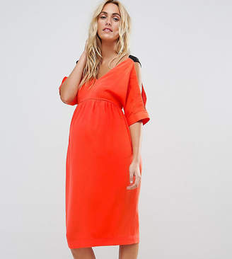 Asos Maternity Cold Shoulder Dress With Cross Back Detail