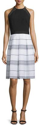 Carmen Marc Valvo Sleeveless Combo Striped Dress $485 thestylecure.com
