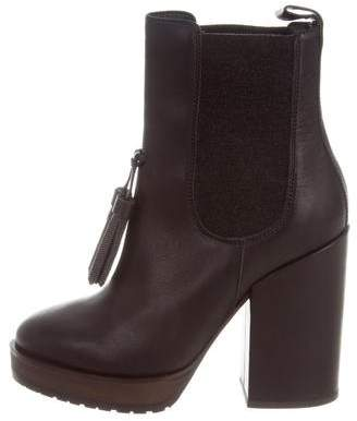 Brunello Cucinelli Leather Platform Ankle Boots w/ Tags
