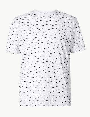 Marks and Spencer Pure Cotton Shark Print T-Shirt