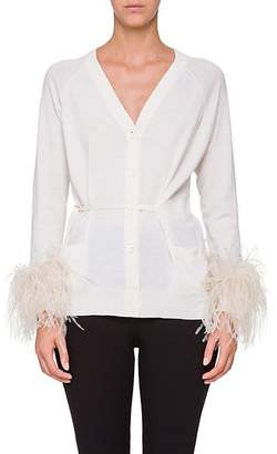 Prada Women's Ostrich-Feather-Embellished Cotton Cardigan - Ivory