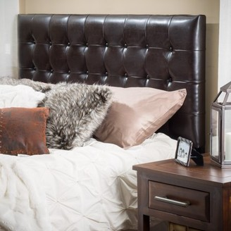 Noble House Yorktown King/California King Brown Tufted Bonded Leather Headboard