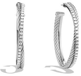 David Yurman Extra-Large Crossover Hoop Earrings with Diamonds