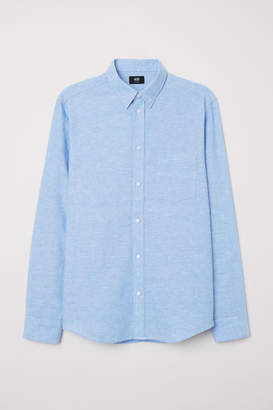 H&M Slim Fit Linen-blend Shirt - Blue