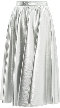 MSGM Metallic Faux Leather Flared Midi Skirt - Womens - Silver