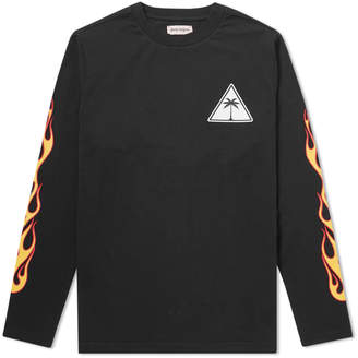 Palm Angels Long Sleeve Flaming Palm Tee