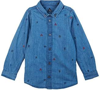 Scotch Shrunk KIDS' EMBROIDERED COTTON CHAMBRAY SHIRT